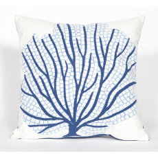 Coral Fan Blue Indoor Outdoor Pillow