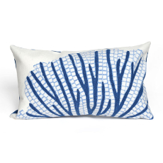 Coral Fan Blue Indoor Outdoor Oblong Pillow