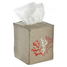 Coral Tissue Box Natural Linen Cover
