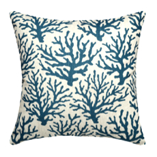 Coral Navy Linen Pillow
