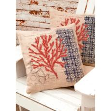 Coral Coastal Compass Pillow
