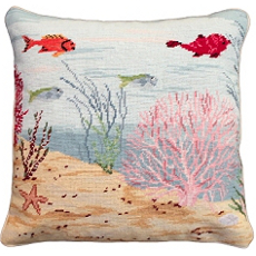 Coral Reef Right Needlepoint Pillow