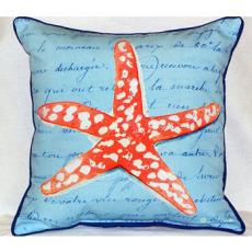 Coral Starfish Blue Indoor Outdoor Pillow