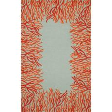 Coral Orange Border Rug