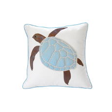 Cottage Blue Sea Turtle Pillow