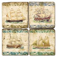 Ships on Fabric Coasters