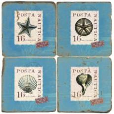 Shells on Stamps Coasters