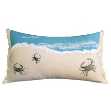 Crab With Waves Pillow - Indoor Cotton
