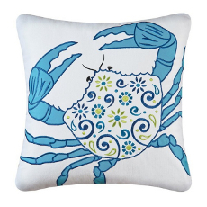 Meridian Crab Embroidered Pillow
