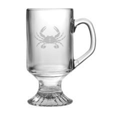 Crab Etched Footed Mug Glass Set