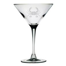 Crab Etched Martini Glass (set of 4)