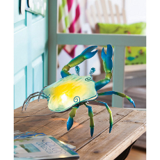 Glass and Metal Crab Lamp