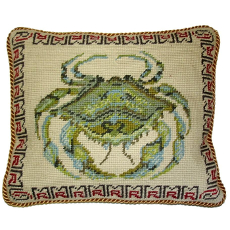 Green Crab Needlepoint Pillow