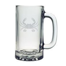 Crab Etched Sports Beer Mug Set