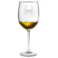 Crab Etched Stemmed Wine Glass Set