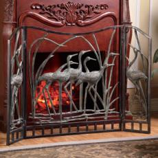 Fireplace Screen Crane Flock Art