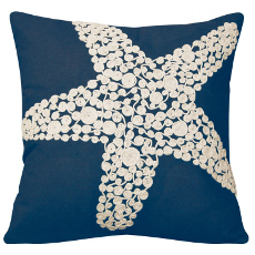 Crewel Rope Knotted Starfish Pillow-Navy
