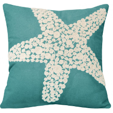 Crewel Rope Knotted Starfish Pillow-Turquoise