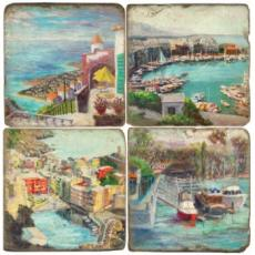 Coastal Resort Coasters, set of 4