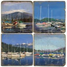 Boats At Dock Coasters, set of 4