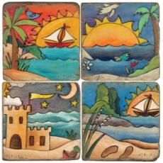 Coastal Fun Coasters, set of 4