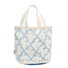 Happy Bottom Coral Lattice Blue Large Beach Bag / Tote