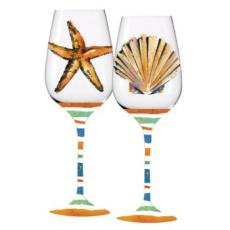 2 Assorted Coastal Stemmed Wine Glasses