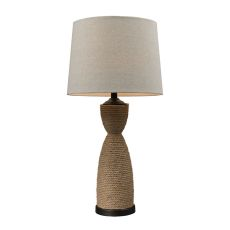 Wrapped Rope Table Lamp In Dark Brown And Sandstone