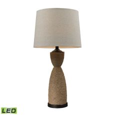 Wrapped Rope Led Table Lamp In Dark Brown And Sandstone