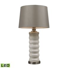 Cream Crackle Ceramic LED Table Lamp With Brushed Steel Accents