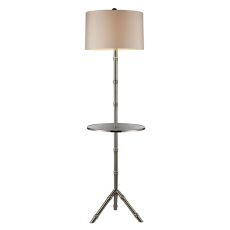 Stanton Table Lamp In Silver Plating With Glass Tray And Pure White Shade
