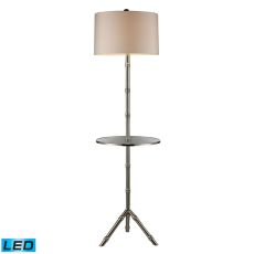 Stanton Led Table Lamp In Silver Plating With Glass Tray And Pure White Shade