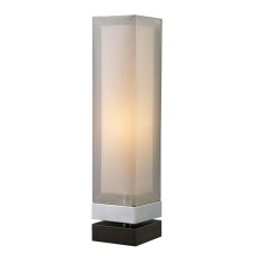 Volant Table Lamp In Chrome And Painted Espresso Base With Double Framed Shade