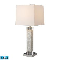 Luzerne Led Table Lamp In Mother Of Pearl With Milano Off White Shade