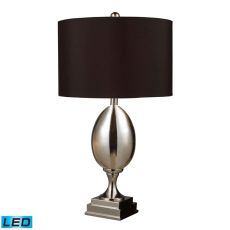 Waverly Led Table Lamp In Chrome Plated Glass With Milano Black Shade