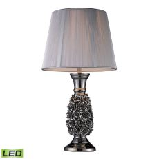 Roseto Led Table Lamp In Alisa Silver With Silver String Shade
