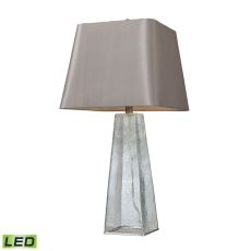 Seeded Glass Led Table Lamp In Clear With Light Grey Shade