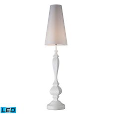 Palmyra Led Floor Lamp In Gloss White With Pure White Faux Silk  Shade