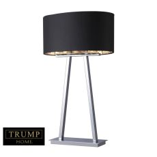 Trump Home Empire 2 Light Table Lamp In Chrome With Black Shade