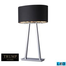 Trump Home Empire 2 Light Led Table Lamp In Chrome With Black Shade