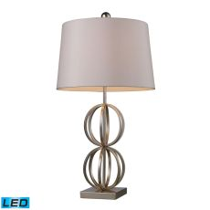 Donora Led Table Lamp In Silver Leaf With Milano Off White Shade