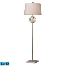 Donora Led Floor Lamp In Silver Leaf With Milano Off White Shade