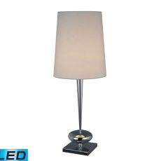 Sayre Led Table Lamp In Chrome With White Faux Silk Shade