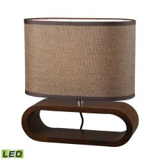 Oval Led Table Lamp In Natural Stained Wood