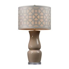 Gloss Ceramic Table Lamp In Taupe With Off White Shade