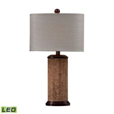 Cork Led Table Lamp In Brown With Light Beige Shade