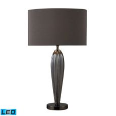 Carmichael Led Table Lamp In Steel Smoked Glass And Black Nickel