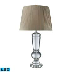 Castlebridge Led Table Lamp In Clear Crystal With Light Grey Shade
