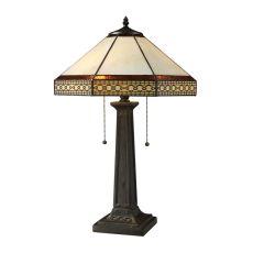 Stone Filigree 2 Light Table Lamp In Tiffany Bronze