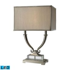 Roberts 2 Light Led Table Lamp In Polished Nickel And Clear Crystal